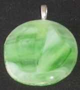 Green and white circular pendant