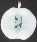 White, clear and pale blue pendant