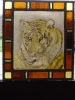 Tiger image painted on glass