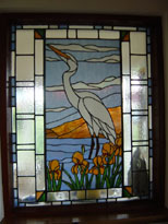 Heron  and Irises Stained glass internal window